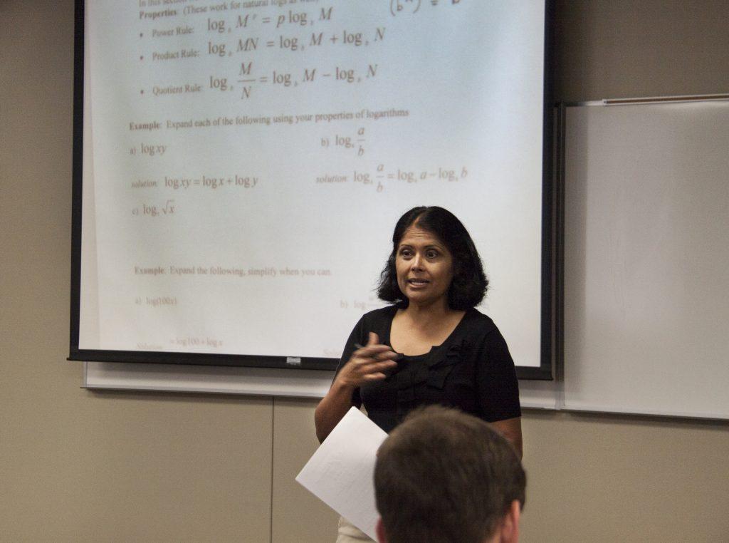 female faculty member teaching a math course