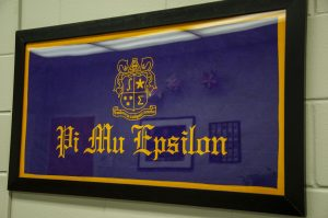 framed Pi Mu Epsilon flag